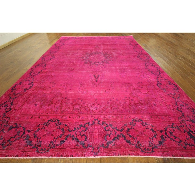 "Pink Overdyed Oriental Floral Rug - 9'6"" x 14'10"" - Image 3 of 10"
