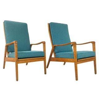 Vintage Mid-Century Beech Lounge Chairs - A Pair