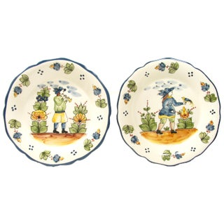 Italian Hand-Painted Faience Plates - A Pair