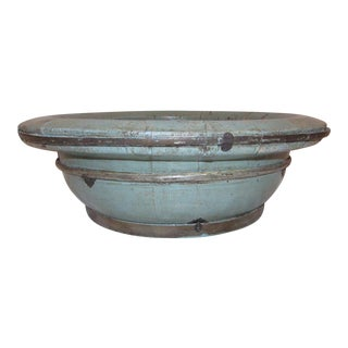 Large Sky Blue Wooden Basin, Decorative Bowl