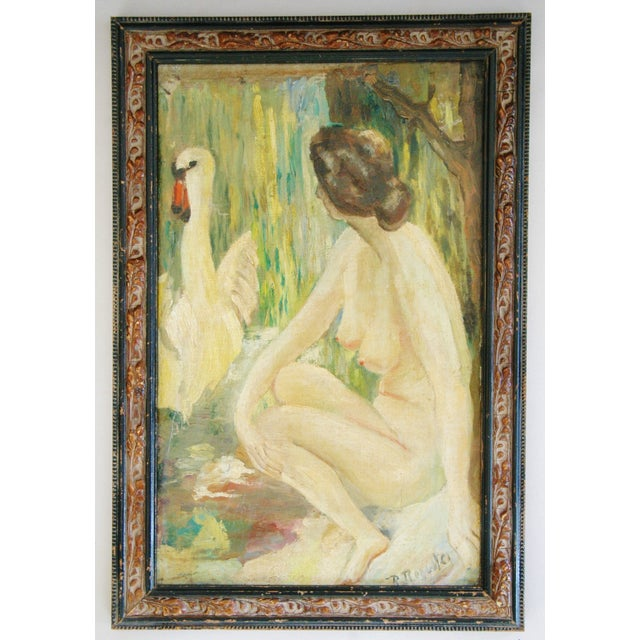 1940s French Oil Painting of Female Nude W/ Swan - Image 3 of 7