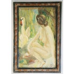 Image of 1940s French Oil Painting of Female Nude W/ Swan
