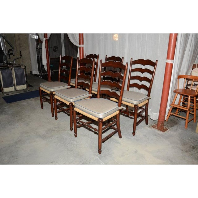 English Ladder Back Dining Chairs - Set of 6 - Image 3 of 10