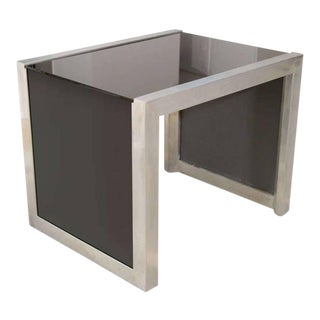 Mid-Century Modernist Side Table in Brushed Chrome and Black Vitrolite