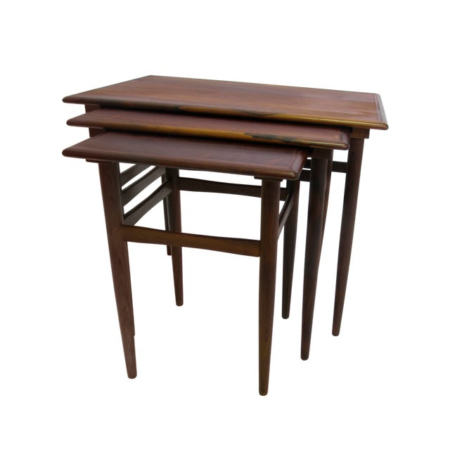Danish Mid-Century Modern Rosewood Nesting Tables - Image 1 of 4