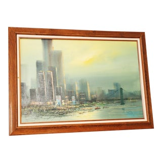 New York City Skyline Impressionist Painting