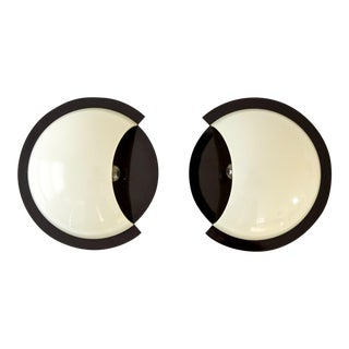 Mid Century Italian Giorgina Castiglioni for Bilumen Giona Black & White Sconce Lights Made in Italy - A Pair