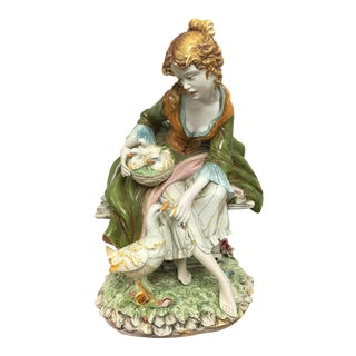Vintage Porcelain Woman With Ducklings
