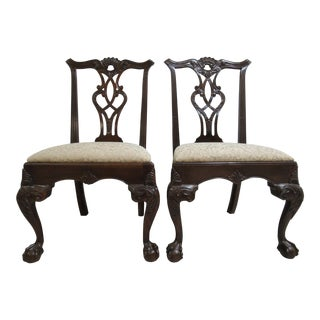 Henredon Ball and Claw Mahogany Chippendale Dining Room Side Chairs - A Pair