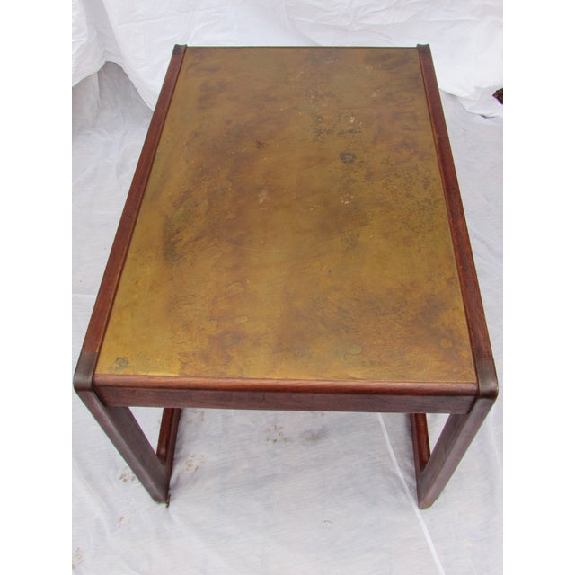 Mid-Century Rosewood & Copper Top Coffee Table