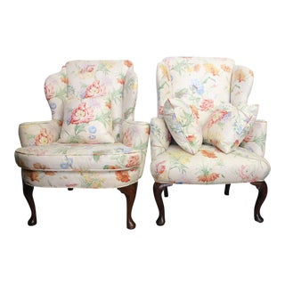 Antique Walnut Wingback Chairs - A Pair