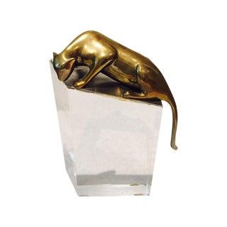 Vintage Lucite & Brass Leopard Modern Art Piece