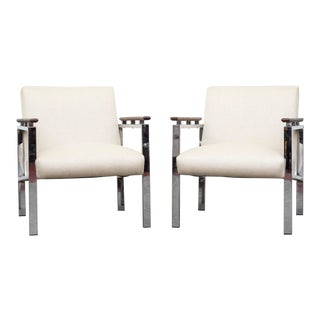 Gispen Style Chrome Lounge Chairs - A Pair