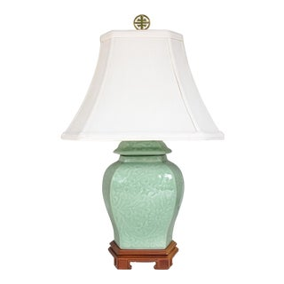 Celadon Green Ginger Jar Chinoiserie Accent Lamp with Shade