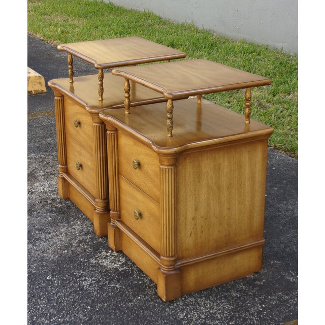 Vintage 2-Drawer Regency Style Nightstands - Pair - Image 4 of 10