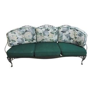 Vintage Black Woodard Acorn Outdoor Patio Sofa Love Seat