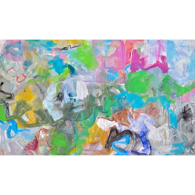 """Mardi Gras"" Abstract by Trixie Pitts 30""x50"" - Image 1 of 4"