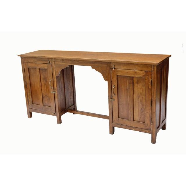 Image of British Colonial Teak Double Pedestal Writing Desk