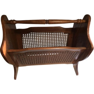 Mid-Century Cane Panel Magazine Rack