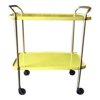 Mid-Century Yellow Bar Cart
