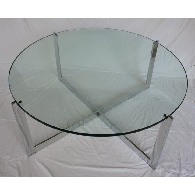 Milo Baughman Chrome & Glass Round Coffee Table - Image 4 of 11