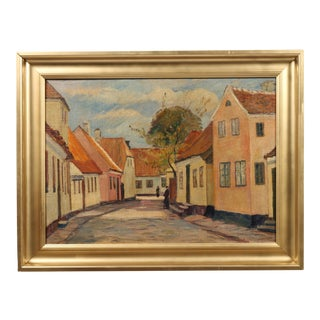 """1929 Andreas Moe """"Village in Late Summer"""" Painting"""