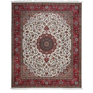 "Tabriz, Hand Knotted Burgandy White Medallion Wool Area Rug - 8' 2"" X 9' 10"""