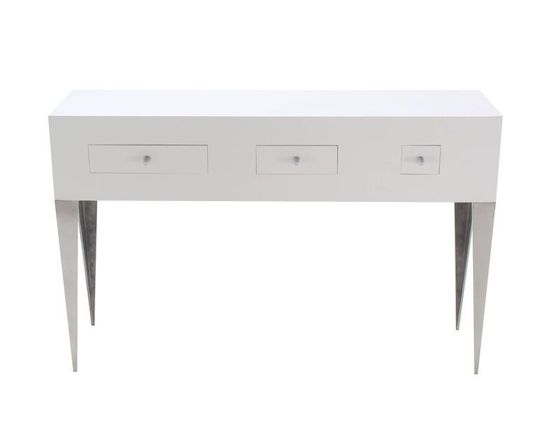 White Lacquer Console Table Cabinet Tall Tempered Legs Bullet Shape Pull 3  Drawe   Image 8