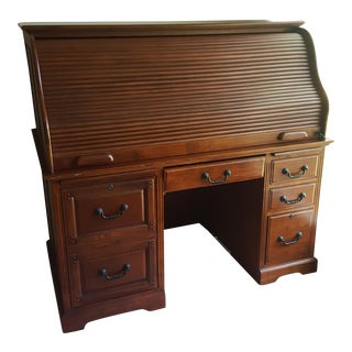 Cherry Wood Rolltop Desk & Filing Cabinet