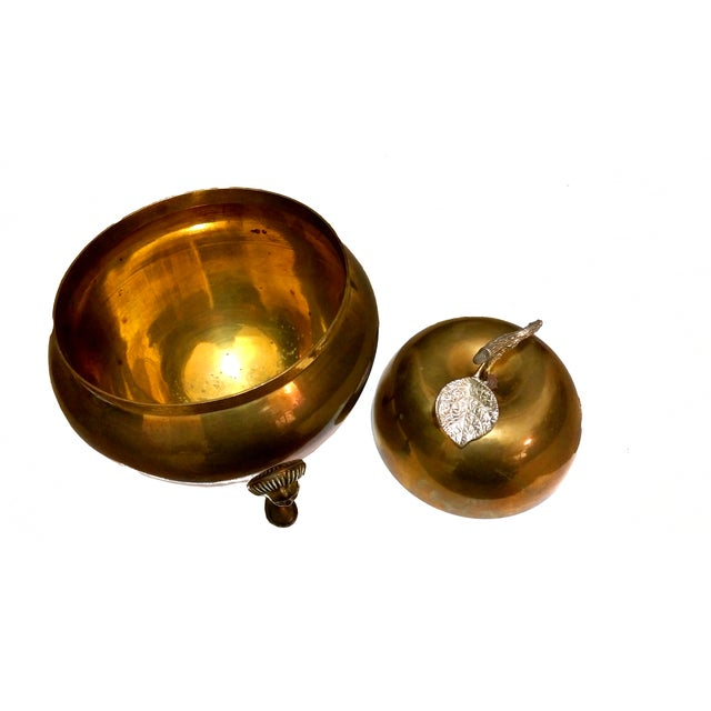 Hollywood Regency Brass Footed Pear Bowl - Image 3 of 5