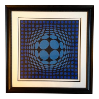 """Sinlag II Red Blue"" Op Art Collage by Victor Vasarely"