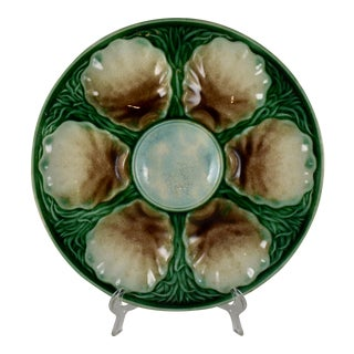 19th Century Salins French Majolica Oyster Plate