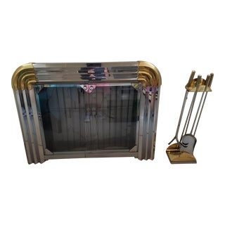 1980's Deco Revival Brass, Chrome, Glass Fireplace Frame and Tool Set