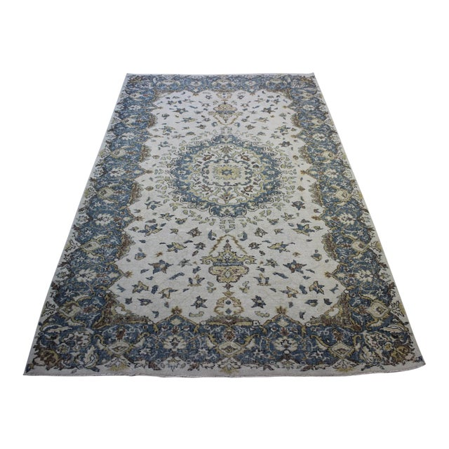 "Blue Cream Turkish Overdyed Rug - 6'1"" X 10' - Image 1 of 9"