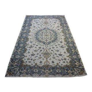 "Blue Cream Turkish Overdyed Rug - 6'1"" X 10'"