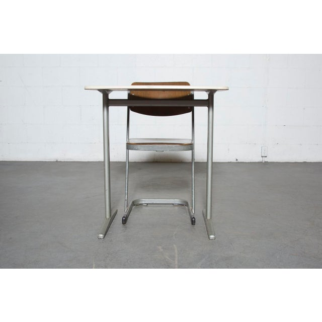 Retro Industrial School Desk and Chair Set - Image 4 of 11