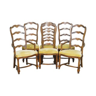 Century French Country Solid Oak Ladder Back Dining Chairs - Set of 6