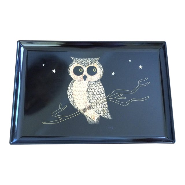 Mid-Century Owl Couroc Tray - Image 1 of 7