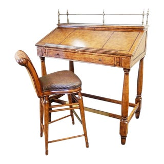 Thomasville Hemingway Leather Top Stand-Up Desk & Stool