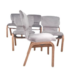 Mid-Century Gray Velvet Dining Chairs - Set of 6
