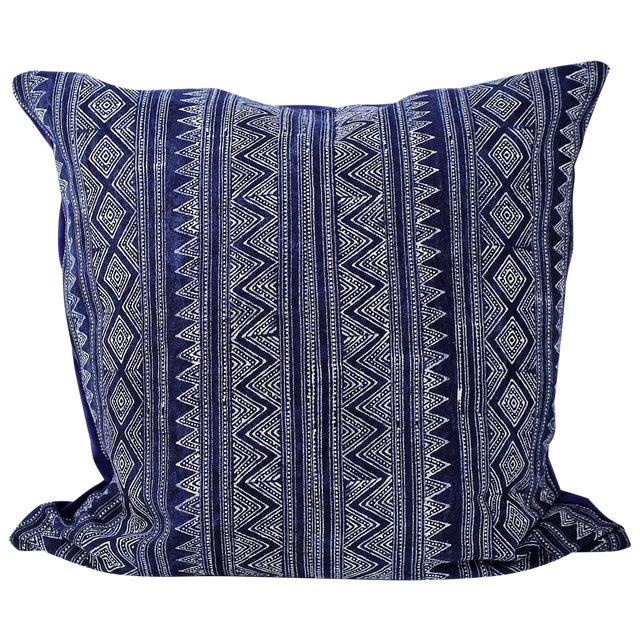 Hmong Zigzag Indigo Batik Handmade Pillow Cover - Image 1 of 6