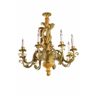 French Wood Foliate Chandelier