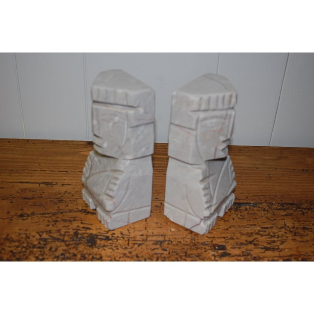 Image of 1950s Gray Marble Aztec Bookends