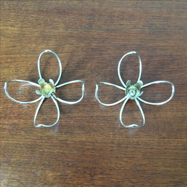 Image of Vintage Metal Flower Candleholders - Pair