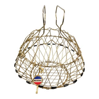 Mid-Century Collapsible Brass Folding Wire Egg Basket