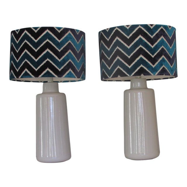 Arteriors White Porcelain Table Lamps with Chevron Shades- A Pair - Image 1 of 4