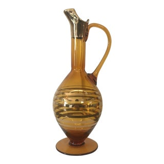 Mid-Century Gold & Amber Decanter