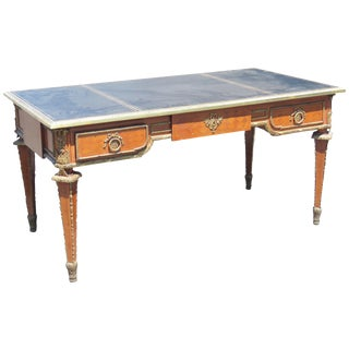 Louis XVI Style Parquetry Inlaid Leathertop Desk