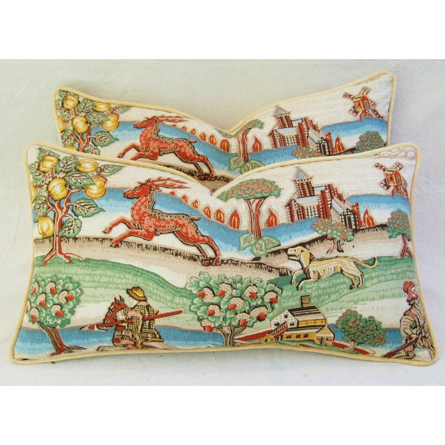 Designer Brunschwig & Fils Medieval Pillows - Pair - Image 3 of 8