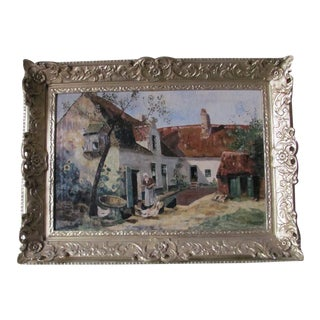 Vintage Belgian Farm Scene Painting